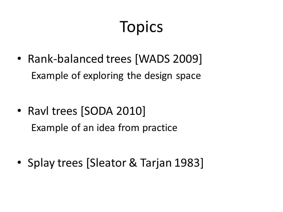 Topics Rank-balanced trees [WADS 2009] Ravl trees [SODA 2010]